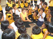 Volunteer on an overseas education project