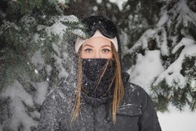 Skier With Face Mask
